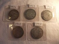 Set of WW1 SILVER Half Crowns, 1914, 15, 16, 17 & 18. See pics for condition.