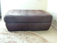 Leather footstool chocolate brown excellent condition