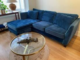 Made .com Customed Blue Velvet L shape sofa