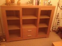 Solid wood light oak dining/living room display cabinet, perfect condition.