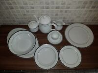 White China Dinner Set with Silver Detail