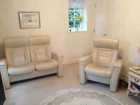 3-Piece Leather Suite; 2-seater sofa and 2 arm chairs (all with reclining function) included.