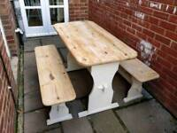 £90 pine dining table and two benches farmhouse shabby chic