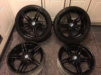 4x19 inch (E89) wheels recently refurbished black. 2 xpirelli runflats part worn on the back wheels