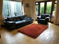 Black Leather 3 Seater Sofa + Armchair Good Condition