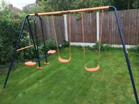 Outdoor double swing set