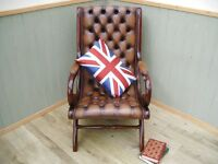Brown Leather Chesterfield Slipper Chair