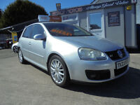 2007 V/W GOLF GT TDI 170 BHP.13 STAMPS ON SERVICE BOOK.MOT'd 18/4/2018.FINANCE AVAILABLE NIL DEPOSIT
