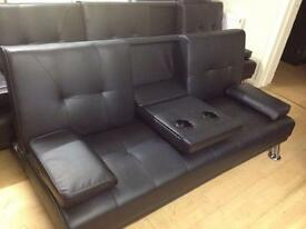Black sofa bed with cup holders (new)