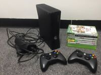 Xbox 360 4GB Slim with 2 Controllers and 7 Games