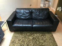 Genuine leather double sofa bed