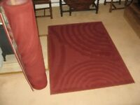 2 relief-patterned rugs lovely maroon colour