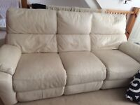 Three seater white leather recliner sofa