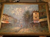 original signed burnett oil painting (paris street) large 3ft x 2 ft in frame