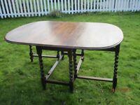 Oak gateleg table with barley twist legs - antique, good condition