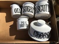 TG Green Spectrum-oil jug,sugar,biscuit and pork dripping jar,cheese dish