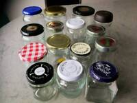 15 Assorted jam jars with lids for craft projects