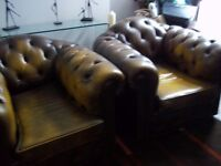 LEATHER CHESTERFIELD CLUB CHAIRS X 2