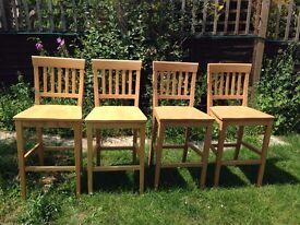 4 x Beech Wood Breakfast Bar Stools / Chairs