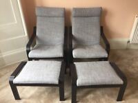 2 Ikea POANG armchairs & matching footstools