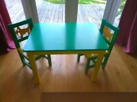 Kids play table and chairs green and yellow