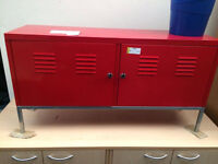 Red Metal Low Cabinet