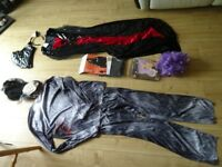 fancy dress items . living dead type , Dracula , cape with eye mask , purple wig