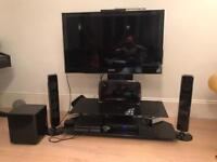 45 inches Samsung Tv with stand and speakers