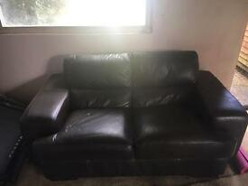 Brown leather 2 seater sofa and arm chair