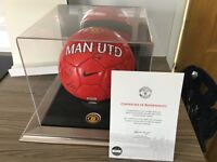 Manchester United official signed football plus display case