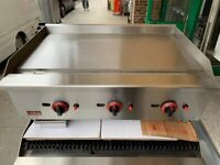 NEW 90 CM GAS FLAT GRILL CATERING COMMERCIAL KITCHEN FAST FOOD TAKE AWAY SHOP BBQ