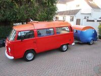 VW CAMPER BRAZILIAN 57 PLATE WITH RETRO TEARDROP CARAVAN