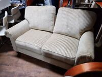 Large 2-Seater Beige Velour Sofa - Never Used!
