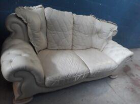 large 2 seater white leather sofa