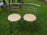 TWO GREY KITCHEN CHAIRS
