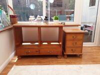 Pine bedside cabinet & twin draw unit