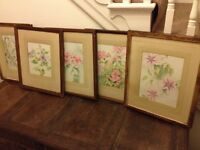 antique set of 5 frames with water colour paintings