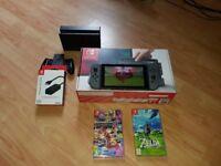 NINTENDO SWITCH (BOXED) + 2 GAMES. + LAN ADAPTER.