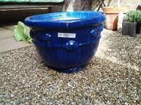 Large blue glazed planter