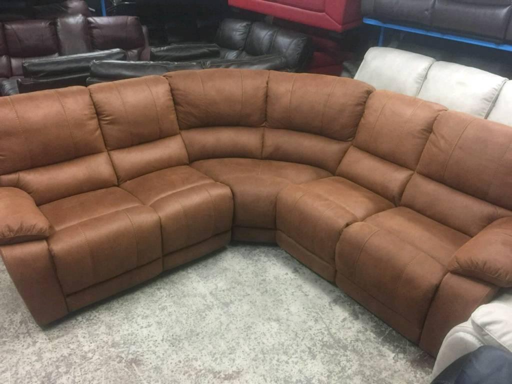 Harveys Ex display tan reclining corner sofa in suede