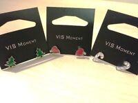 £1 each VIS Jewellery- 18x Christmas Tree, Santa Hat, Crystal Earrings +FREE RING