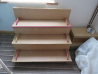 Wooden tabletop shelf unit
