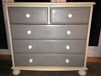 Chalk Paint grey cream 3+2 drawers and 2x bedside tables