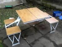 Fold away picnic table