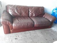 Big brown 3 seater leather settee