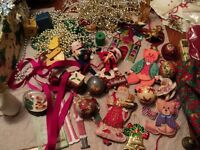 BIG box of Christmas decorations! Ornaments, garland, frieze, crafts, stockings AND MORE!Pre-owned.