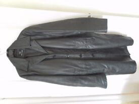 Black Mens Real Leather Coat