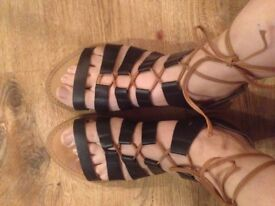 Parklane Gladiator Leather Flat Sandals size uk 8/41