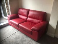Red Leather 3 seat sofa