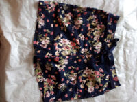 Cute Navy Floral Shorts with Tie Belt - Size UK 10